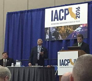 Brian Maxey, left, Bill Amato, center, and Tim Gunther speak to the crowd at IACP 2016. (PoliceOne Image)