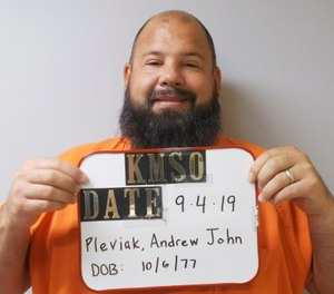 In this photo provided by the Kingman County Sheriff's Office, Andrew John Pleviak is pictured in a booking photo dated Sept. 4, 2019. (Kingman County Sheriff's Office via AP)