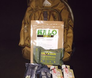 A personal bailout bag with first-aid items for an active shooter incident