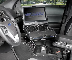 The Gamber-Johnson docking station for the Getac V110 rugged notebook solved connection problems for the SBCSD. (photo courtesy of Gamber-Johnson)