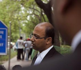 In this Thursday, April 17, 2014 file photo, Samarjeet Pattnaik, attorney of a New York City police officer Manny Encarnacion, speaks to the media in New Delhi, India. (AP Image)