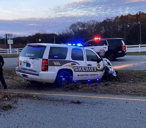 An inmate stole and crashed a sheriff's cruiser in attempt to escape prison Monday afternoon. (Photo/TNS)