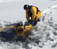 Training day: Firefighter training exercises for the ice rescue novice