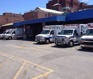 The five town of Islip Volunteer Ambulance Companies shown together at Southside Hospital, from left to right: Central Islip - Hauppauge Volunteer Ambulance, Brentwood Legion Ambulance, Exchange Ambulance of the Islips, Bay Shore Brightwaters Rescue Ambulance and Community Ambulance Company.