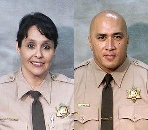 Corrections Officers Juanita Davila (left) and Toamalama Scanlan. (Fresno County Sheriff's Office via AP)