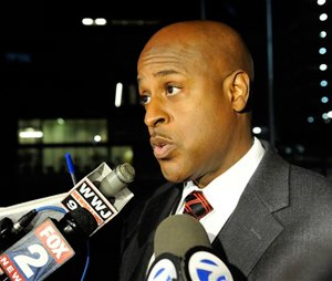 Eric Jones, interim executive fire commissioner talks with media in Detroit. (David Coates/The Detroit News via AP)