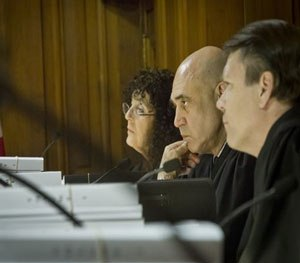 Appellate court judges listen to arguments in the videotaped chokehold death of Eric Garner, Tuesday, June 16, 2015, in New York. (AP Image)