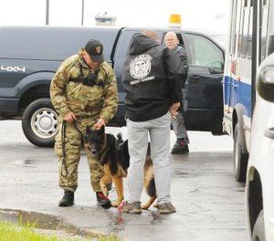 Law enforcement officers preparing a police canine to ride a helicopter for a training exercise that will familiarize canines with the experience of being airborne on June 13, 2019   [JOLENE CLEAVER / OBSERVER-DISPATCH]