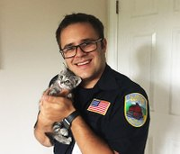 NJ EMT adopts kitten that he saved from smoke inhalation