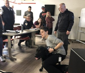 Armstrong Ambulance staff members received in-depth training from veterinarian Beth Eisenberg that would help them treat a K-9 injured in the line of duty.