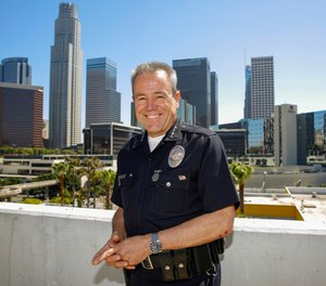 In this Wednesday, July 10, 2019, photo Los Angeles Police Department Chief Michel Moore poses for a photo in downtown Los Angeles. (AP Photo/Damian Dovarganes)