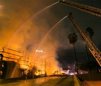 Video: Massive fire destroys L.A. apartment complex