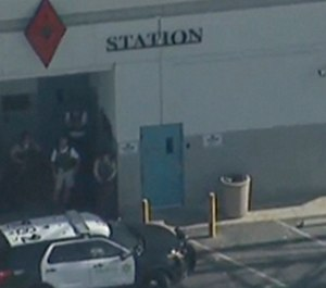 This photo taken from video provided by KABC-TV shows the outside of a Los Angeles County sheriff's station in Lancaster, Calif., on Wednesday, Aug. 21, 2019. (KABC-TV via AP)