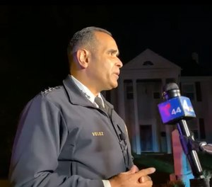 Interim Police Chief Hector Velez speaks about the incident at a press conference November 10, 2020.