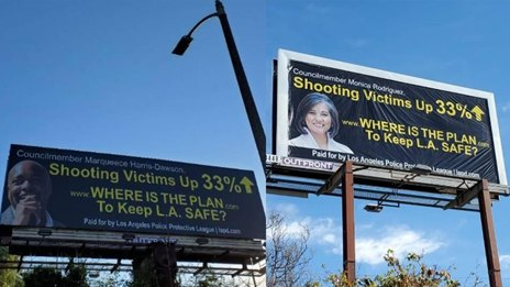 A sampling of billboards placedby theLos Angeles Police Protective League.