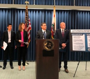 California Attorney General Xavier Becerra, second from right, announces an independent review of the Los Angeles Police Department's use of a gang member database after allegations of misuse on Monday, Feb. 10. (Photo/AP)