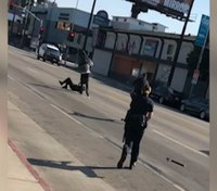 Video: Suspect shot moments before striking cop with machete