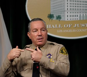 In this Sept. 17, 2020, file photo, Los Angeles County Sheriff Alex Villanueva comments on the shooting of 29-year-old Dijon Kizzee, who was killed by deputies following a scuffle, during a news conference at the Hall of Justice in downtown Los Angeles. (AP Photo/Damian Dovarganes, File)