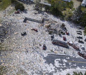 An aerial view of the devastation after an explosion at the Life Enrichment Advancing People (LEAP) building in Farmington, Maine killed one firefighter and injured multiple other people, including six firefighters, on September 16, 2019. (Photo/Russ Dillingham, Sun Journal via AP)