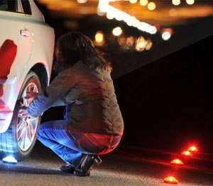 The low-profile LED road flares can withstand the weight of 20,000 pounds, and come equipped with a magnetic base for easy mounting to a vehicle. (Photo courtesy FlareAlert)