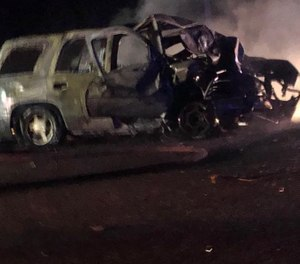 Officer Blake McGee was critically injured after his vehicle collided with a logging truck and burst into flames. Passersby, including a sheriff's deputy, got him out of the vehicle. (Photo/Sylacauga Police Department)