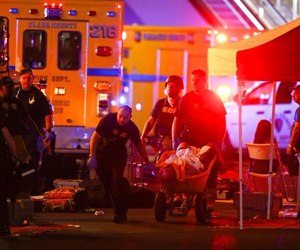 As a new type of mass casualty incident unfolded, it became clear that planning and staging must evolve for this new type of threat. (Chase Stevens/Las Vegas Review-Journal via AP)
