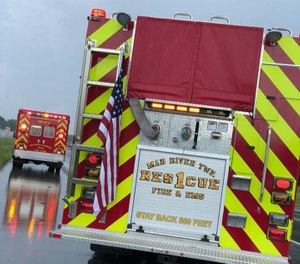 An Ohio medic vehicle responding to a single-car crash was struck by a semitrailer Tuesday morning, killing the semi driver and injuring a passenger and two of the medic crew. (Photo/Enon-Mad River Township Fire and EMS)