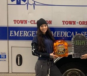 EMT Madison Calhoun, who recently graduated from the Thousand Islands Emergency Rescue Service junior program, stopped at the scene of a burning car to help direct two people to safety. (Photo/Thousand Islands Emergency Rescue Service-TIERS Juniors Facebook)