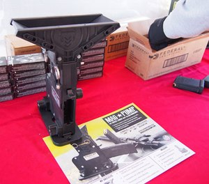 The MagPump quickly breaks down and can fit into a .50 caliber ammo can. (Photo/PoliceOne)