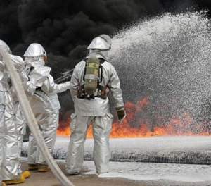 PFAS are man-made chemicals that have been used in products worldwide since the 1950s, including firefighting foam. (Photo: Lance Cpl. Shawn Valosin/U.S. Marine Corps)