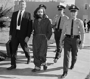 Charles Manson is shown en route to court in Independence, Calif., Dec. 3, 1969. (AP Image)