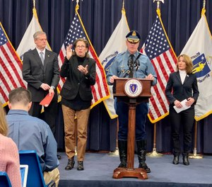 Lt. Col. Christopher Mason (center, right) was announced as the new superintendent of the Massachusetts State Police, taking over for Col. Kerry Gilpin. (Photo/MSP)