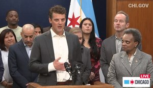 Grubhub CEO Matt Maloney joined Chicago Mayor Lori Lightfoot (right) to announce the initiative on Friday, March 13. Image: Facebook screengrab