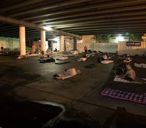 70 men were moved to sleep outside by the St. Vincent dePaul Center of Hope in St. Petersburg to comply with social distancing guidelines. (Photo/TNS)