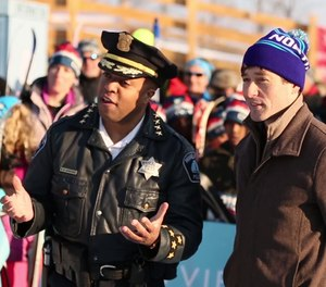 In this screenshot of a video, Minneapolis Mayor Jacob Frey and Minneapolis Police Chief Medaria Arradondo welcome visitors and fans to Minneapolis for the Super Bowl. (Photo/YouTube)