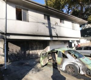 Orange County Fire Investigator Capt. William Lackey said that in one incident, Saddler is suspected of setting a car on fire that spread to a Santa Ana apartment building. (Photo/Orange County Fire Authority)
