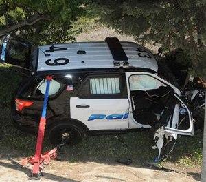 Officer Brian McDowell's crashed Explorer.