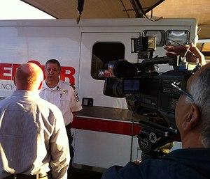 MedStar Field Supervisor Marshall Sharp interviewed about heat-related calls. (Photo courtesy of MedStar)