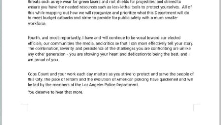 This image shows a screenshot of Police Chief Michel Moore's letter to police officers, obtained by local media outlets.