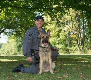 K-9 Midas, 4, died after being pulled from a cruiser with a malfunctioning air conditioner. (Photo/Hancock County Sheriff's Office)