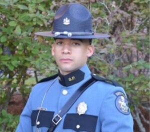 Trooper Mickael Nunez was struck by a vehicle that officers were pursuing, shattering his leg. (Photo/Maine State Police)