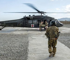 Soldiers in a tactical critical care evacuation team prepare for a patient transfer mission at Forward Operating Base Orgun East, Afghanistan. (Photo/Marleah Miller, Air Force)