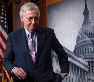 In this Oct. 6, 2018 file photo, Senate Majority Leader Mitch McConnell, R-Ky., finishes speaking to reporters at the Capitol in Washington. (AP Photo/J. Scott Applewhite)