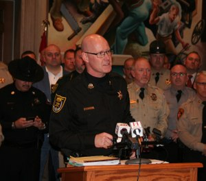 Lewis County Sheriff David Parrish speaks out Wednesady against changes to bail rules and other policies. (Photo/TNS)