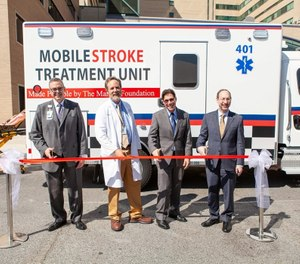 Grady Memorial Hospital's Mobile Stroke Unit at its ribbon-cutting ceremony last year. Over the past year, the unit has responded to approximately 880 calls. (Photo/Grady Memorial Hospital)