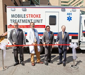 Grady Memorial Hospital's Mobile Stroke Unit at its ribbon-cutting ceremony last year. Over the past year, the unit has responded to approximately 880 calls.