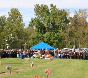 Thousands paid their final respects at St. Louis Family Church in Chesterfield Thursday to St. Louis County Police Officer Blake Snyder. (Photo/St. Louis County Police Department)