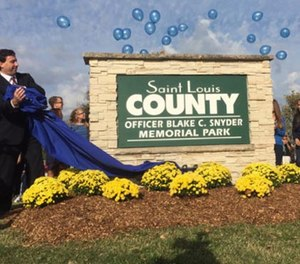 Officer Blake Snyder was killed in the line of duty on Oct. 6 not near Clydesdale Park. (Photo/St. Louis County)