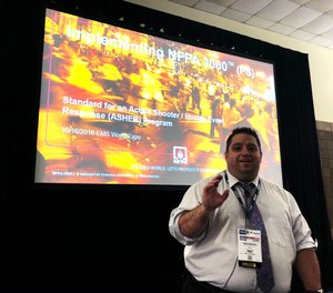 """John M. Montes, NREMT, anemergency servicesspecialistwith theNational Fire Protection Association (NFPA),kickedoff the2019 EMS World Expo in New Orleans with an early morning sessiontitled""""Active Shooter Hostile Event Response (ASHER) Programs: Unified Command and the Role of EMS."""