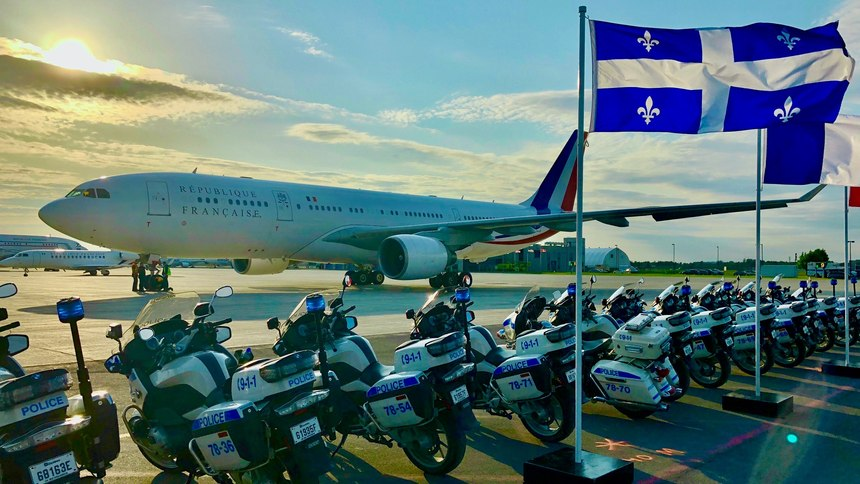 Themotorcycle unit prepares to escort French President Emmanuel Macron on hisvisit to Montreal.